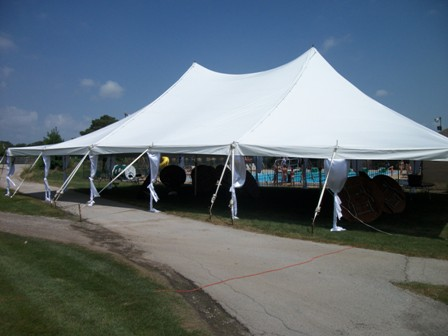40x60 Pole Tent 18 Round Tables 8x16ft stage for head table 152 White Resin Folding Chairs 16x24ft Dance Floor Side Pole Skirts & Party Palace Outdoor Wedding Event and Party Rentals - 40 x 60 ...